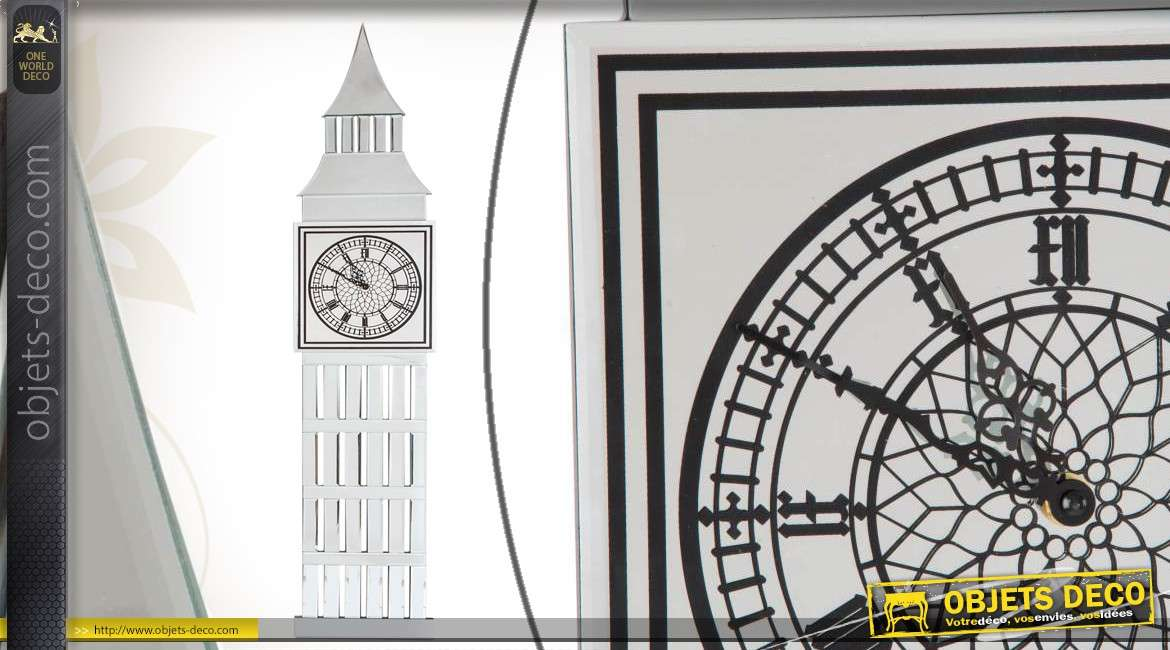horloge murale d corative big ben en verre effet miroir. Black Bedroom Furniture Sets. Home Design Ideas
