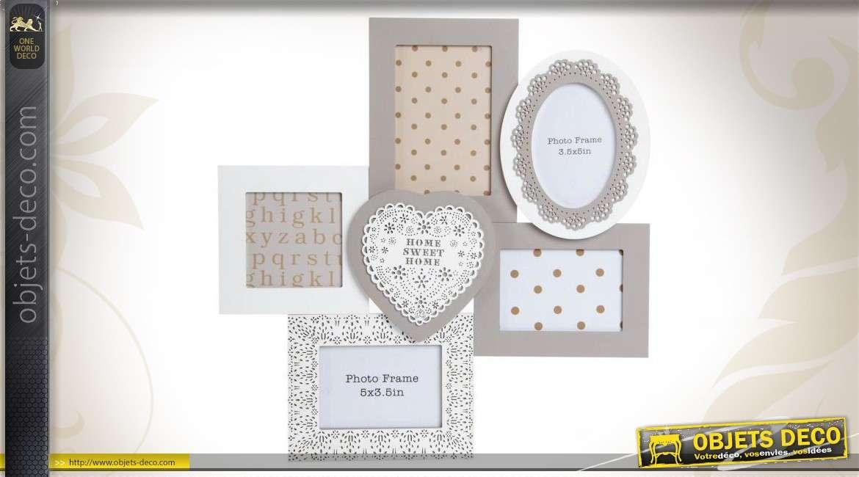 Cadre photos en p le m le coloris blanc et gris de style for Objet deco gris