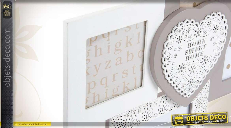 cadre photos en p le m le coloris blanc et gris de style romantique. Black Bedroom Furniture Sets. Home Design Ideas