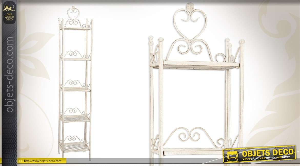 etag re d 39 inspiration fer forg patin e blanc ancien. Black Bedroom Furniture Sets. Home Design Ideas