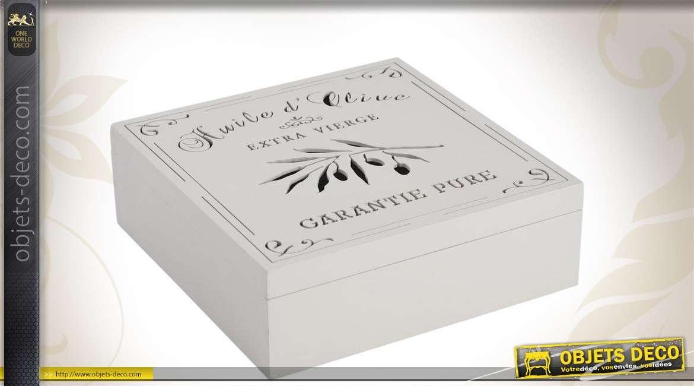 Boîte décorative avec couvercle en bois coloris blanc