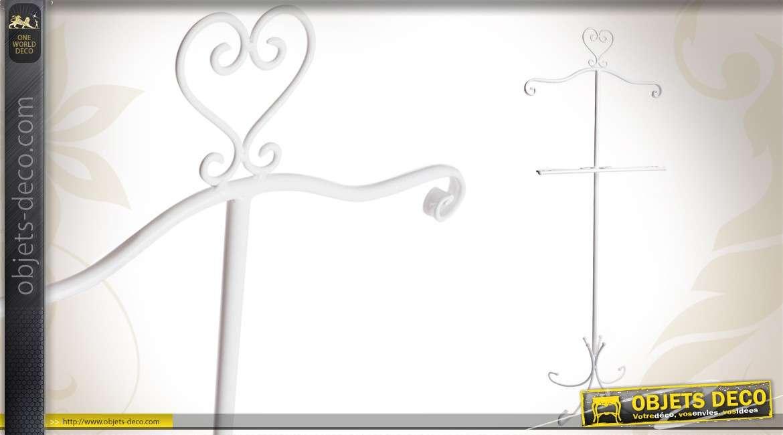 Valet de nuit vintage de charme en métal blanc