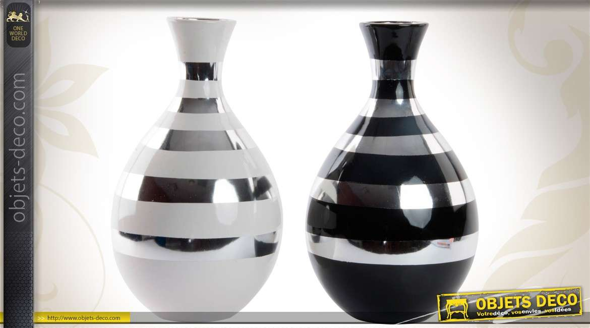duo de vases bicolores en c ramique de style contemporain. Black Bedroom Furniture Sets. Home Design Ideas