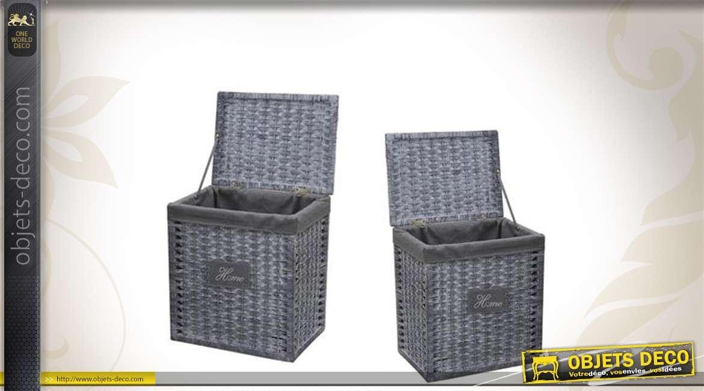 Duo de corbeilles à linge en osier et en corde avec doublures coton