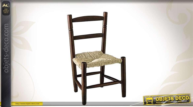 Chaise en hêtre teinté marron pour enfant