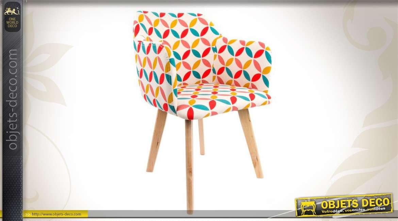 Chaise d co en bois et en tissu divers coloris for Chaise en tissu colore