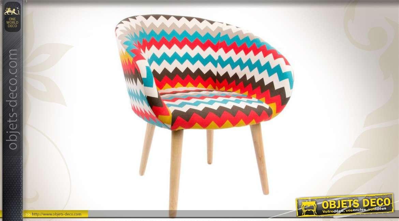 Fauteuil en bois et tissu color de style scandinave for Chaise en tissu colore