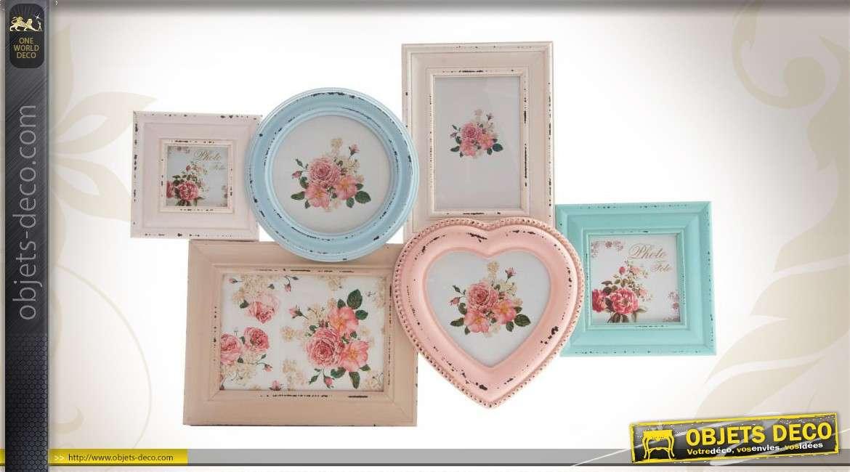 Cadre multi photos en bois coloris patin s de style romantique - Pele mele style industriel ...