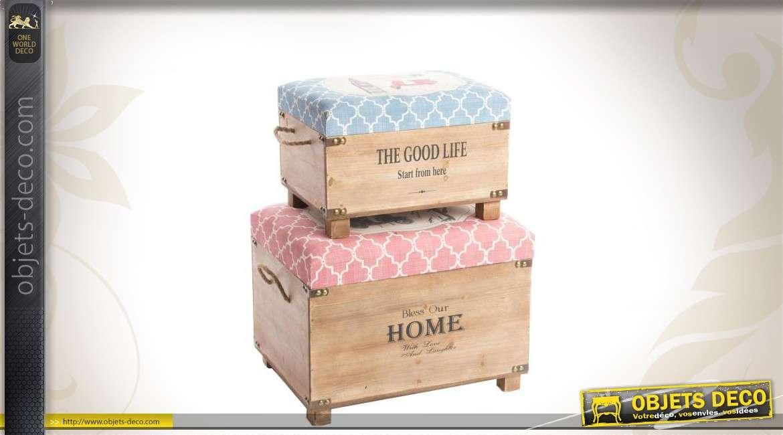 duo de coffres d co en bois avec poign es. Black Bedroom Furniture Sets. Home Design Ideas