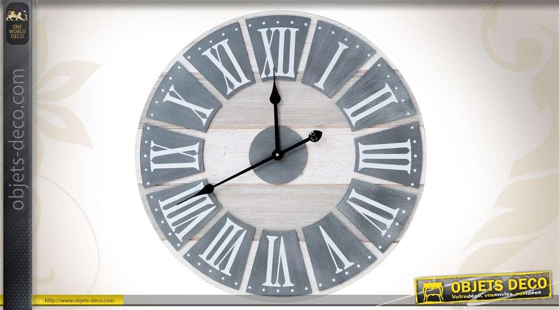 horloge murale 60 cm coloris gris finition vieillie. Black Bedroom Furniture Sets. Home Design Ideas