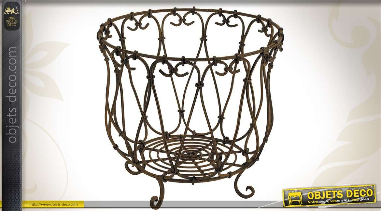 Série de 3 cache-pots décoratifs en métal inspiration fer forgé