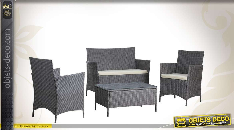 Salon de jardin 4 pi ces avec table canap et fauteuils for Canape et fauteuil de salon