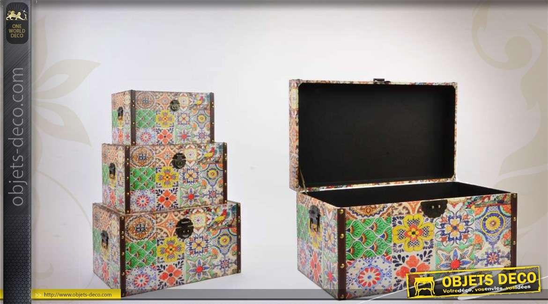 trio de coffres de rangement d cor s et color s. Black Bedroom Furniture Sets. Home Design Ideas