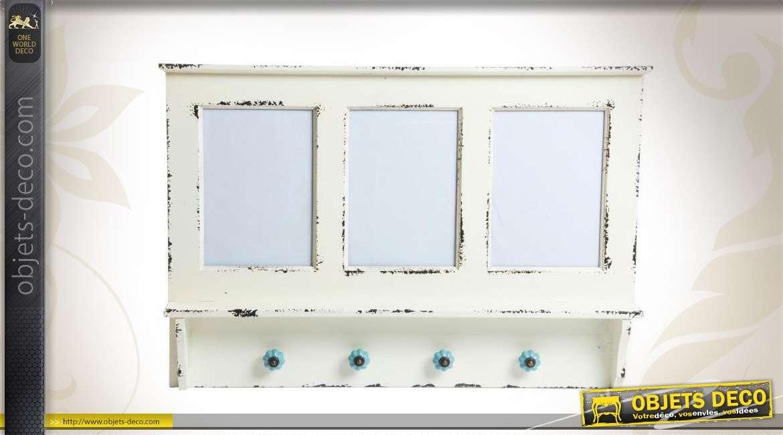 Porte manteaux mural 4 pat res avec 3 cadre photos for Dimension porte avec cadre
