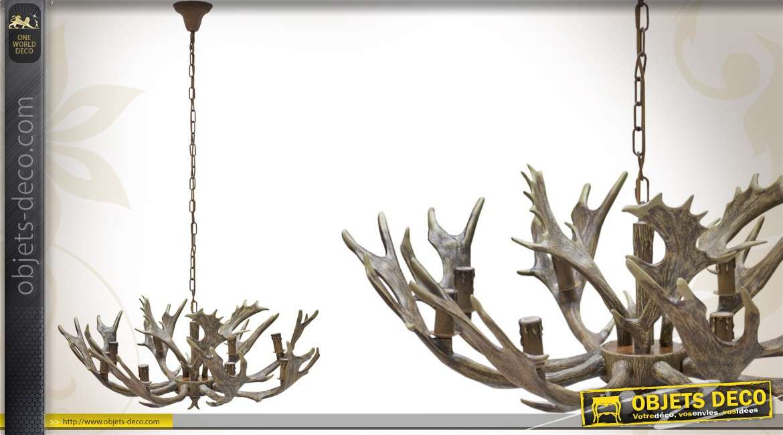 lustre ornemental 8 feux design bois de cervid finition naturelle. Black Bedroom Furniture Sets. Home Design Ideas