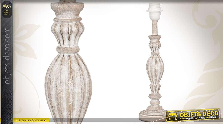 pied de lampe en bois tourn et patin finition ancienne. Black Bedroom Furniture Sets. Home Design Ideas