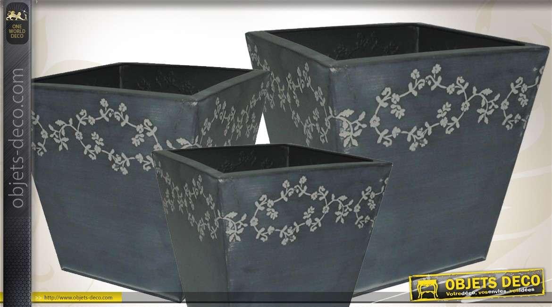 Trio de cache-pots déco ornés de motifs floraux