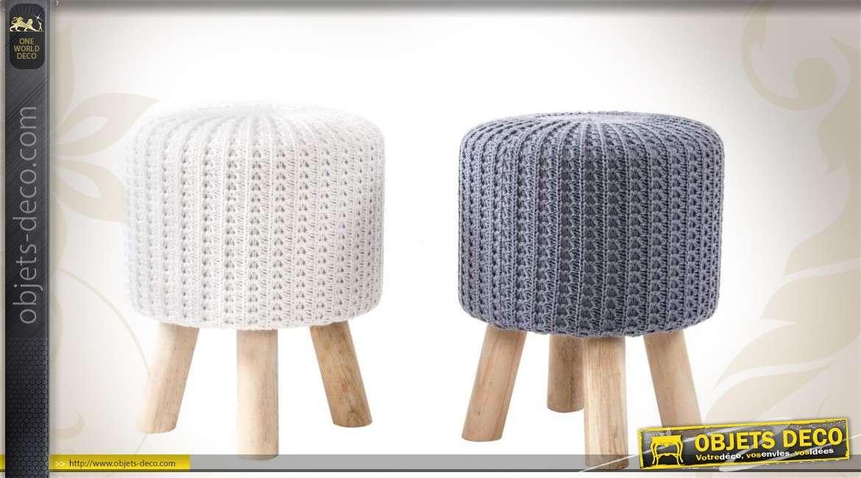 Duo de repose-pieds en bois et tissu effet tricot