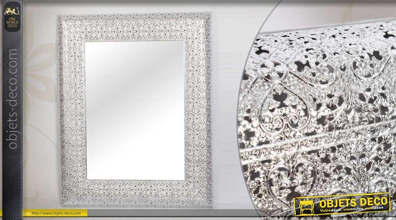 Miroir en m tal argent et ajour de style oriental 97 cm for Miroir oriental