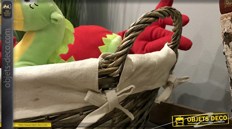 Corbeille à linge en osier tressé avec doublure en coton épais coloris gris et blanc, 57cm