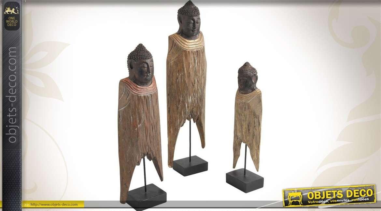 Série de 3 statuettes du Buddha