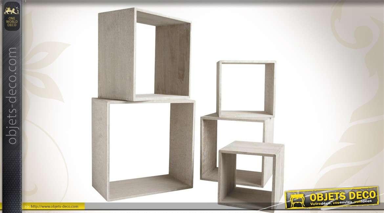 Série de 5 étagères mudulables en bois patiné gris
