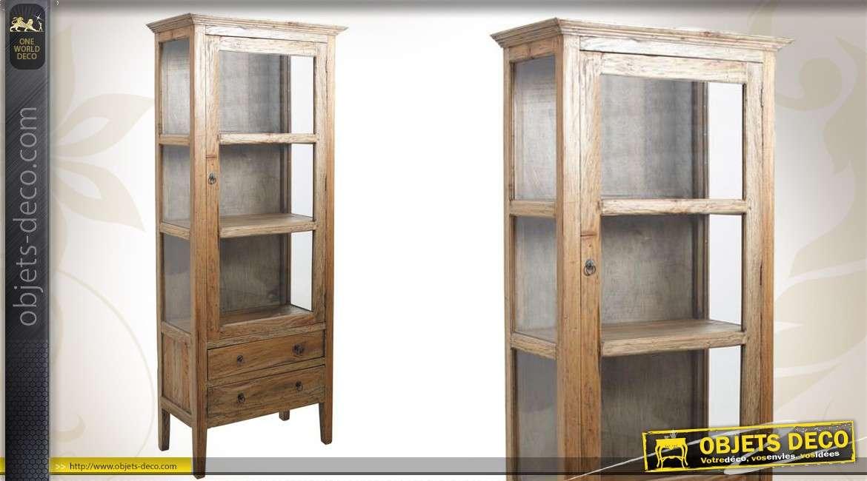 Haute vitrine croisillons de style cottage avec 2 tiroirs for Finition de meuble en bois