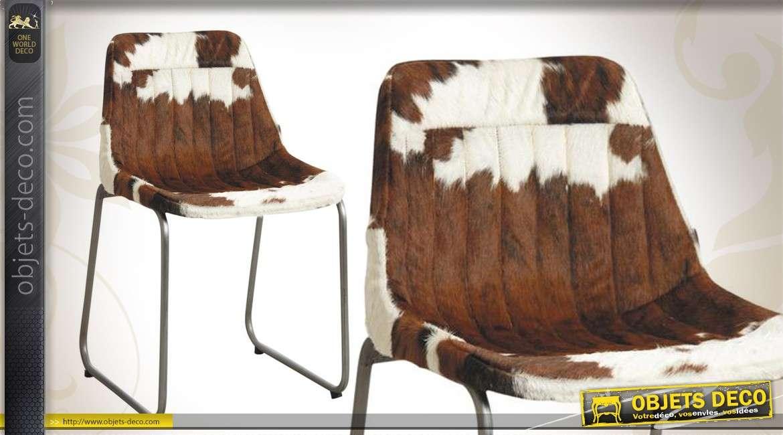 Chaise en métal et peau de vache bicolore de style vintage