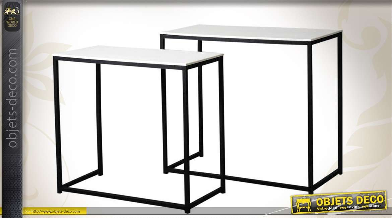 Série de 2 consoles bois et métal de style contemporain