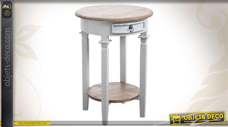 Sellette en bois de forme ronde et patinée coloris gris clair