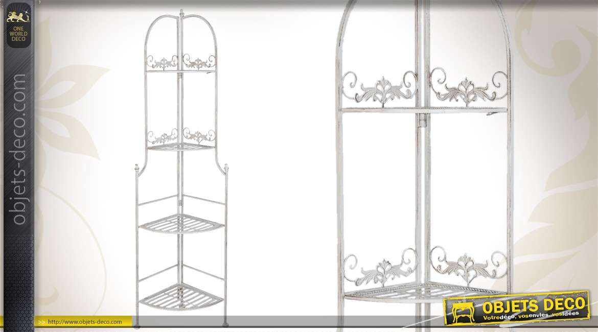Etagere D Angle En Metal A 4 Tablettes Finition Blanc Patine