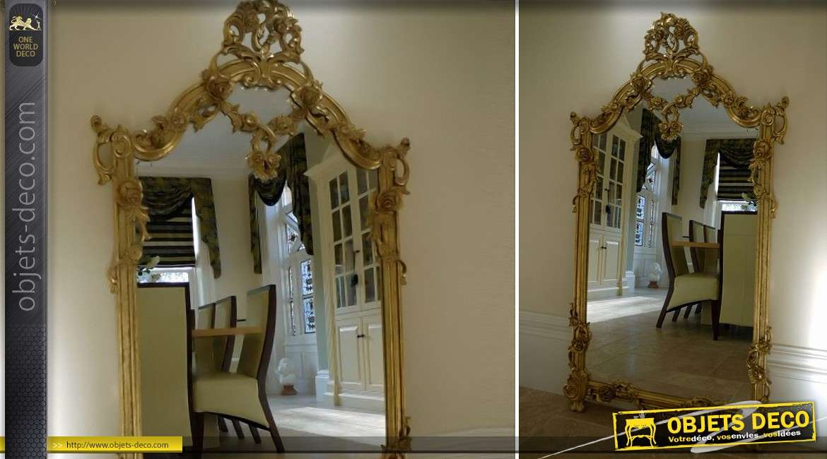 Grand miroir baroque dor luxueux sculpt la main 160 cm for Grand miroir baroque