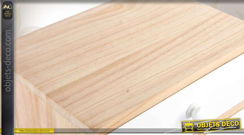Chiffonnier scandinave 7 tiroirs blanc et bois naturel for Objet deco bois naturel