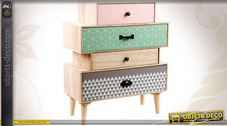 commode scandinave multicolore et bois naturel 4 tiroirs. Black Bedroom Furniture Sets. Home Design Ideas