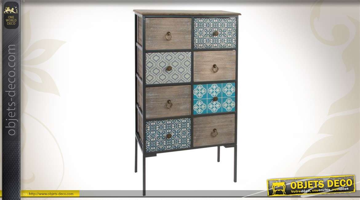 commode en bois vieilli et en m tal 8 tiroirs. Black Bedroom Furniture Sets. Home Design Ideas