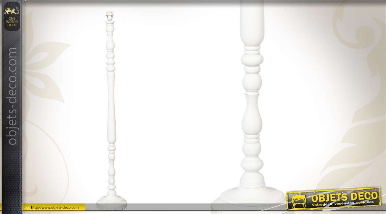 Pied Lampadaire Bois Tourne : Pied de lampadaire en bois tourné coloris blanc