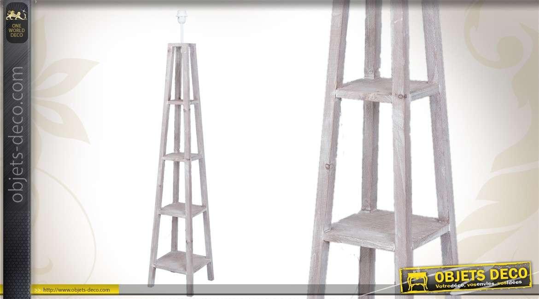 Pied Lampadaire Bois Tourne : Grand pied de lampadaire en bois cannelé finition chaulée