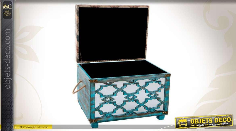 duo de coffres de rangement en bois patin bleu et tissu. Black Bedroom Furniture Sets. Home Design Ideas