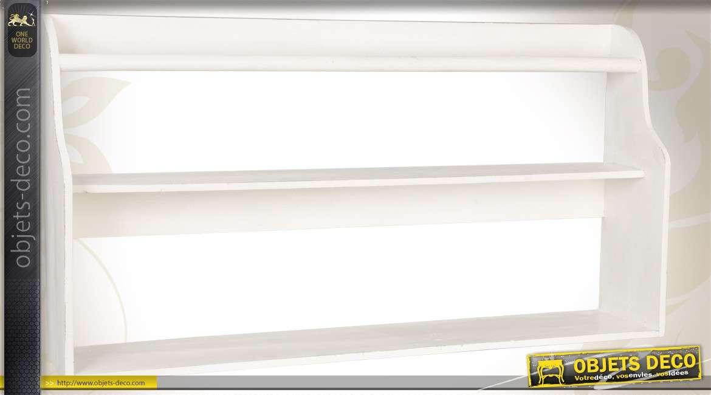 Etag re murale bois patin e blanc vieilli entrelacs de for Objet deco pour etagere