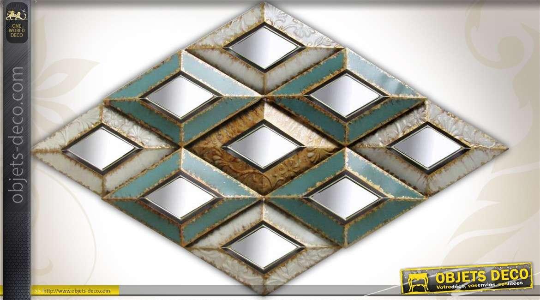 D co murale art d co en losanges m tal vieilli miroirs 169 cm for Miroir metal vieilli