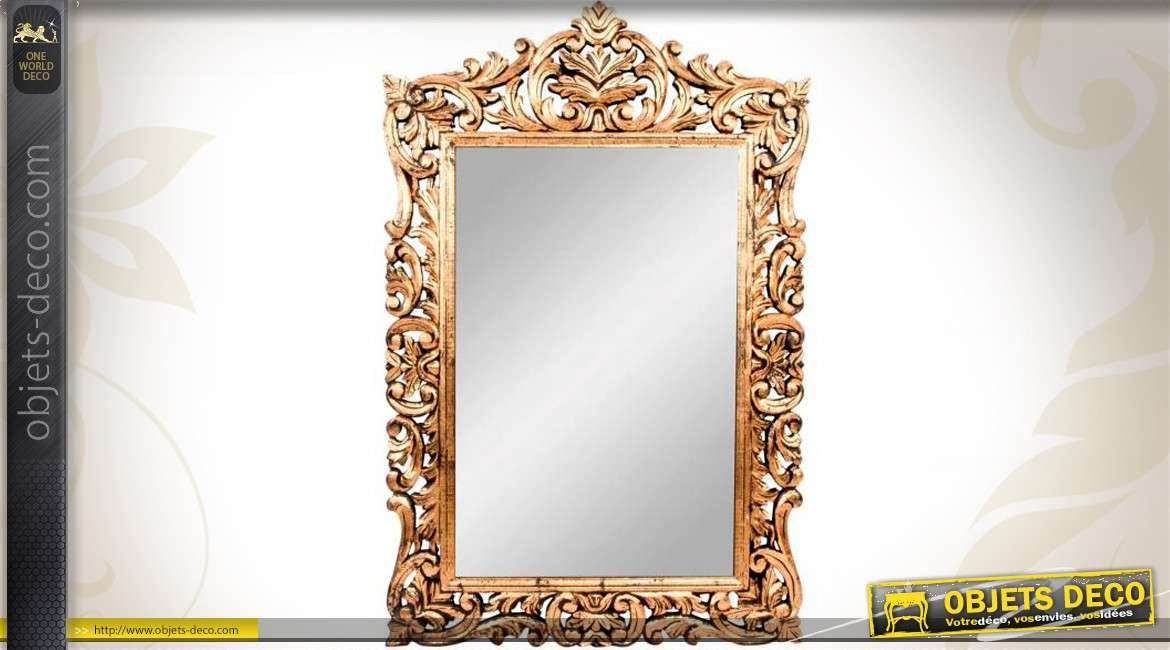 Grand miroir style ancien dor 1 22 m tre for Grand miroir blanc baroque