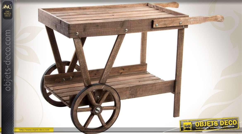 Chariot jardinière en bois ancien à deux niveaux 104 cm