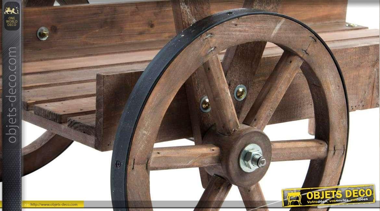 chariot jardini re en bois ancien deux niveaux 104 cm. Black Bedroom Furniture Sets. Home Design Ideas