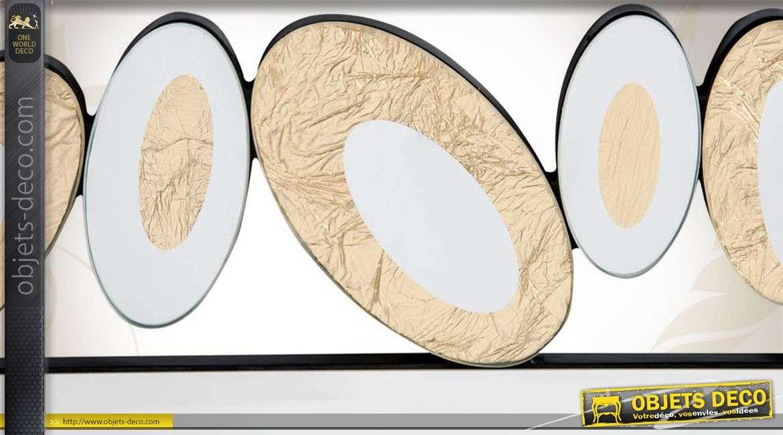grand miroir multifacettes art d co argent et or 120 cm. Black Bedroom Furniture Sets. Home Design Ideas