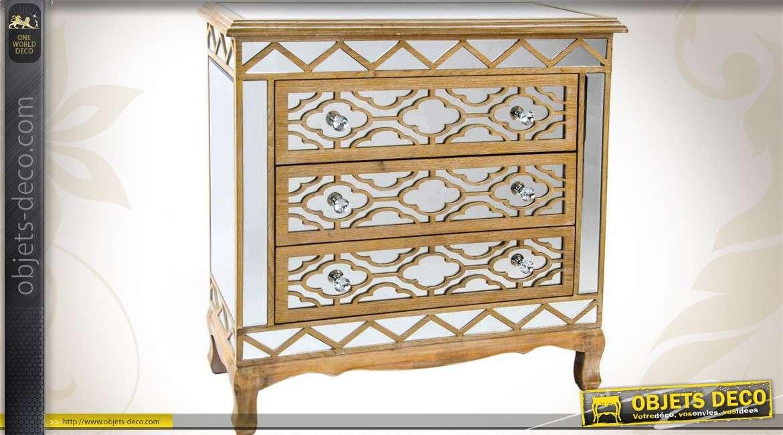 commode bois et miroirs 3 tiroirs style art d co. Black Bedroom Furniture Sets. Home Design Ideas