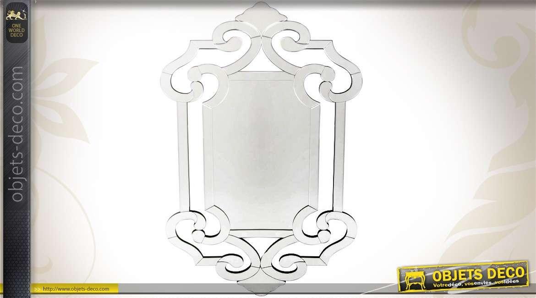 Grand miroir de style v nitien glaces biseaut es 120 cm for Miroir mural grande dimension