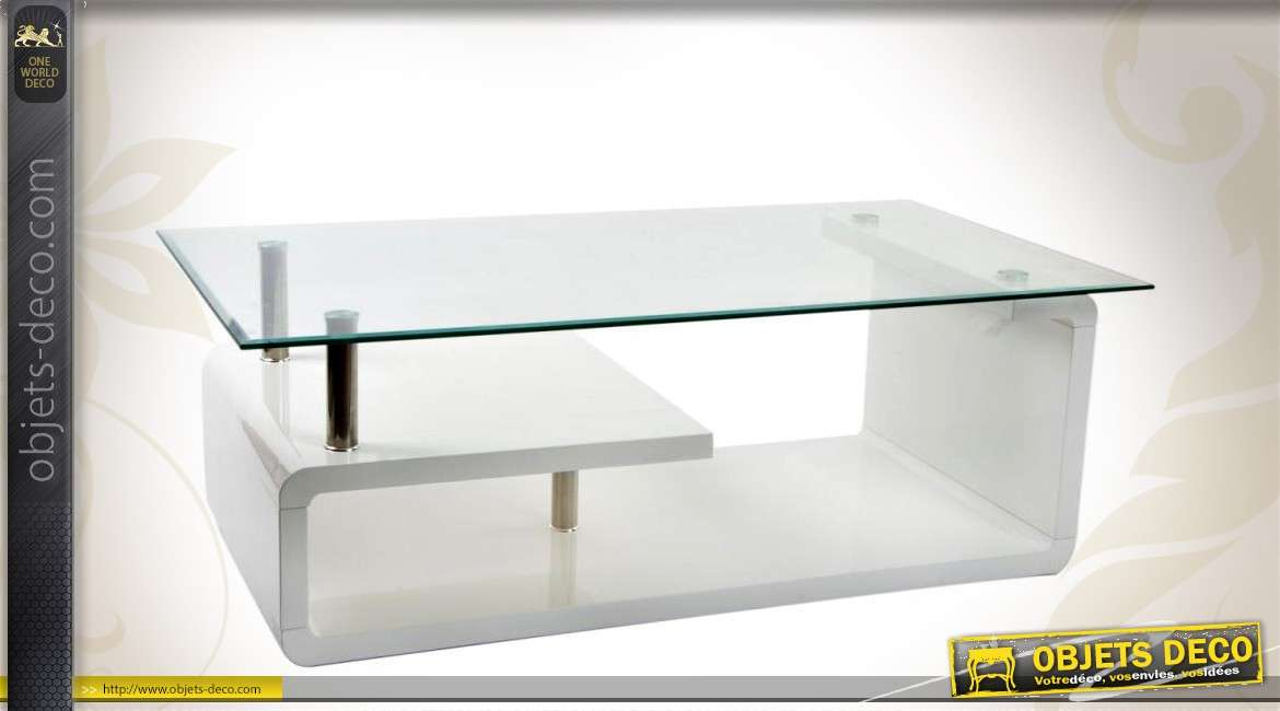 table basse design blanche en bois verre et m tal chrom. Black Bedroom Furniture Sets. Home Design Ideas