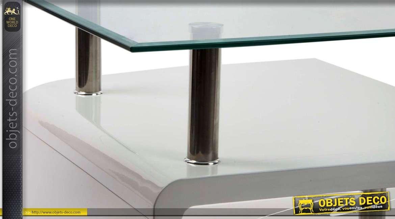 Table basse design blanche en bois, verre et métal chromé