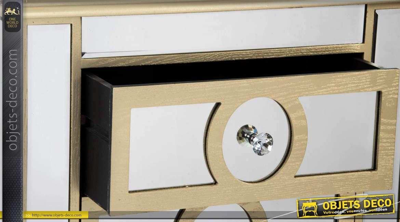 Table de chevet art d co 3 tiroirs finition miroirs et for Miroir bordure doree