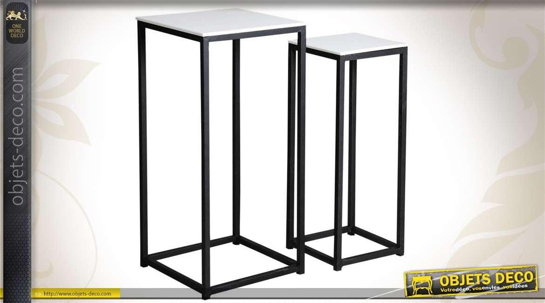Duo de sellettes en métal et bois de forme carrée